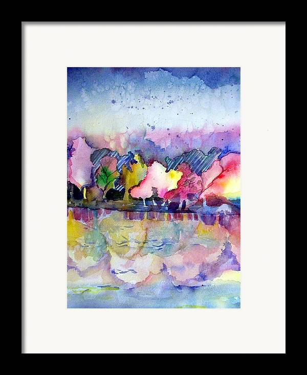 Landscape Framed Print featuring the painting Reflections by Mindy Newman