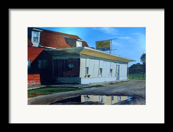 Landscape Framed Print featuring the painting Reflections Of A Diner by William Brody