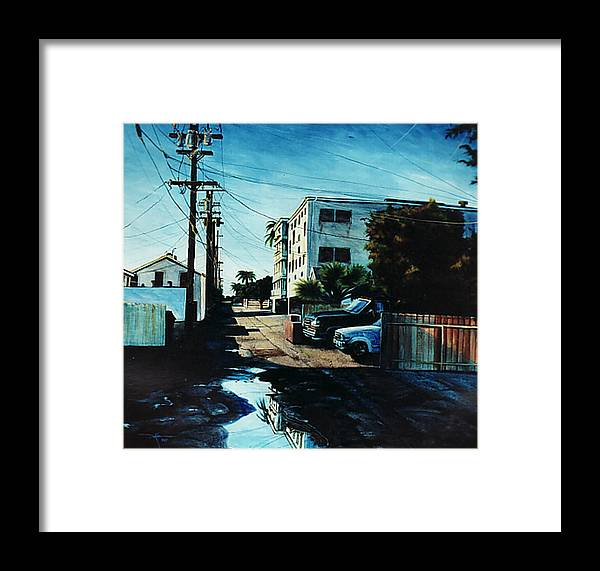 Cityscapes Framed Print featuring the painting Reflections Of Blue by Duke Windsor