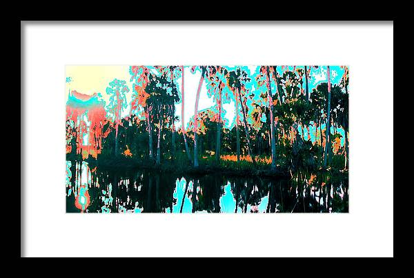 Landscapes Framed Print featuring the painting Reflections Of Palms Gulf Coast Florida by G Linsenmayer