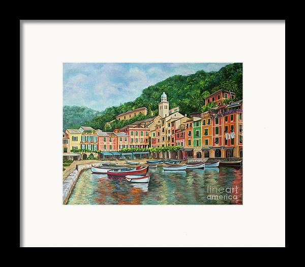 Portofino Italy Art Framed Print featuring the painting Reflections Of Portofino by Charlotte Blanchard