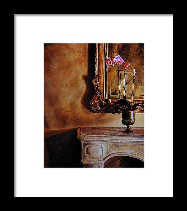 Fireplace Framed Print featuring the painting Reflections of the Past by Keith Gantos