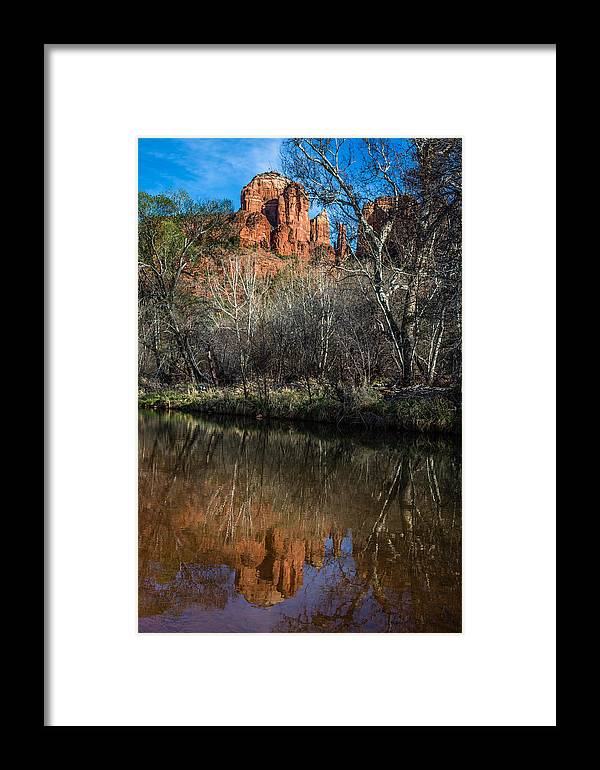 America Framed Print featuring the photograph Reflections On Cathedral Rock by Dennis Swena