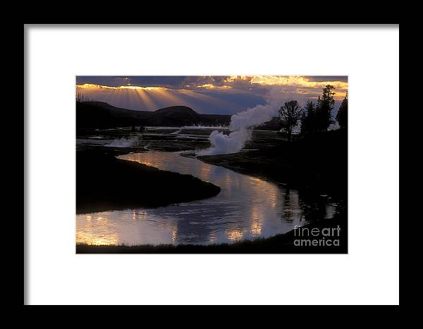 Yellowstone National Park Framed Print featuring the photograph Reflections On The Firehole River by Sandra Bronstein