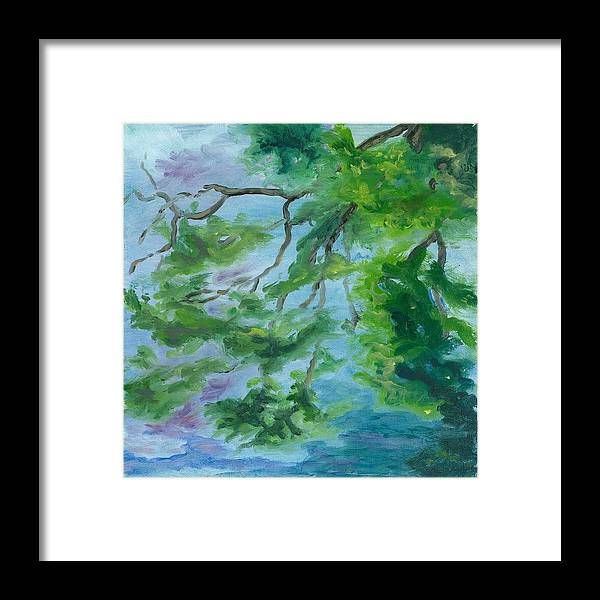 Reflections Framed Print featuring the painting Reflections On The Mill Pond by Paula Emery