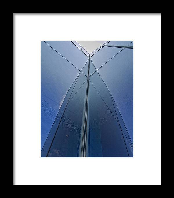 Architectural Detail Framed Print featuring the photograph Reflective Building Nyc by Robert Ullmann