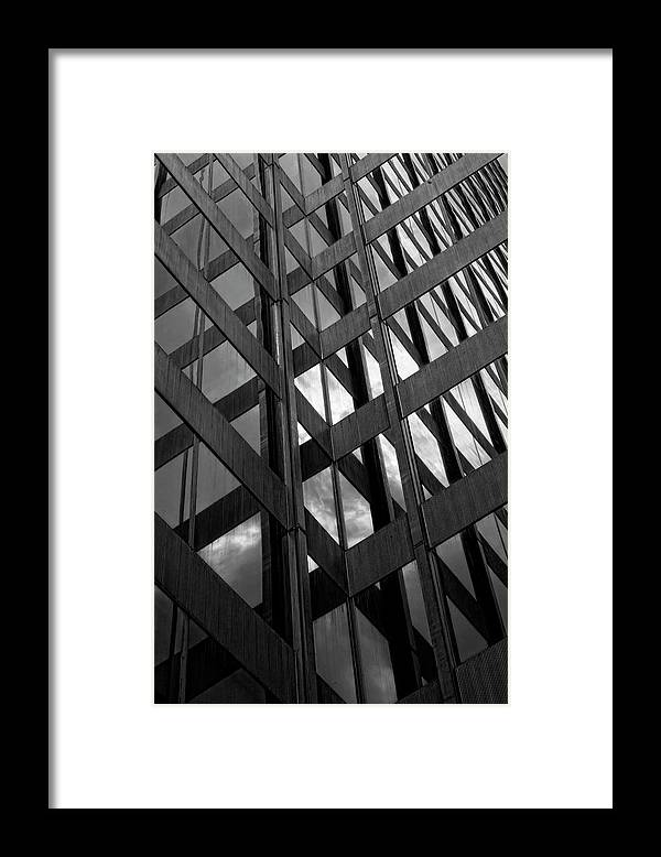 Architecture Framed Print featuring the photograph Reflective Glass And Metal Building by Robert Ullmann