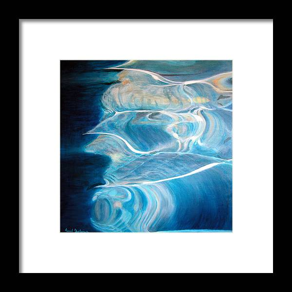 Abstract Framed Print featuring the painting Reflet by Muriel Dolemieux