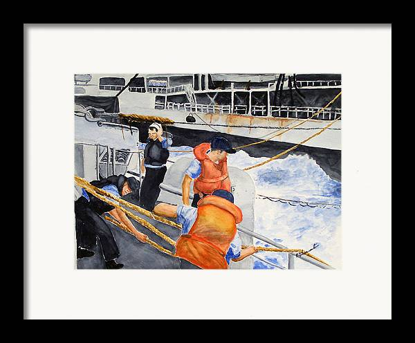 Navy Framed Print featuring the painting Refueling by Robert Thomaston