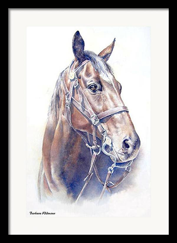 Horse Framed Print featuring the painting Regal A Cavalry Horse Portrait by Barbara Widmann