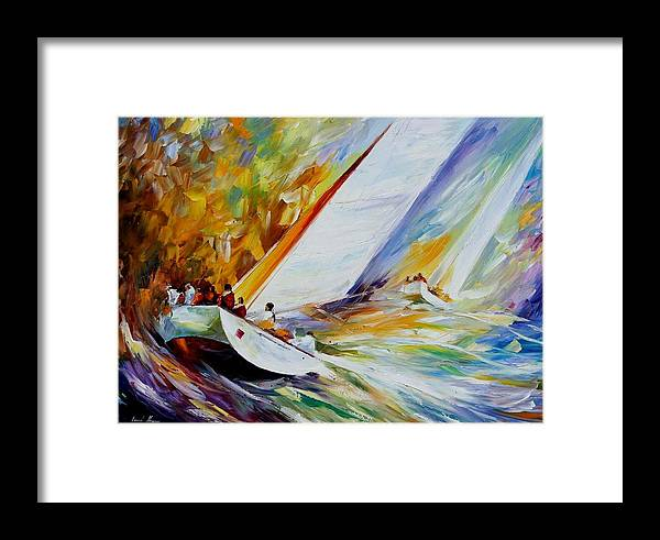 Afremov Framed Print featuring the painting Regatta by Leonid Afremov