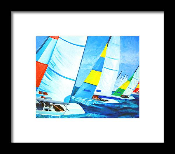 Sailing Framed Print featuring the painting Regatta by Michael Lee