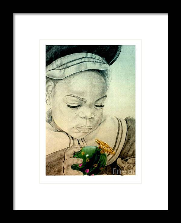 Child Framed Print featuring the drawing Regi by Reggie Duffie
