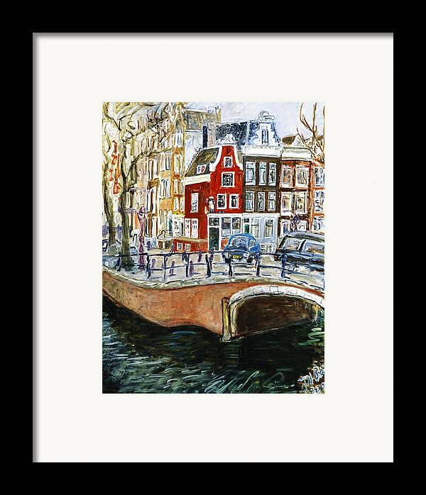 Amsterdam Cityscape Canal Water House Bridge Framed Print featuring the painting Reguliersgracht by Joan De Bot