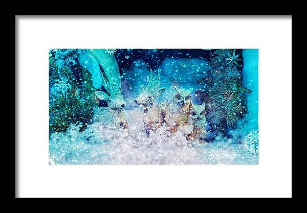 Holiday Framed Print featuring the photograph Reindeer And Owls Holiday Celebration by Rachel Hannah