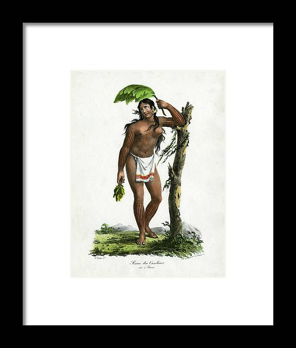 Guam Framed Print featuring the drawing Reine De Carolines Queen Of The Carolines On Tinian by Jacques Arago