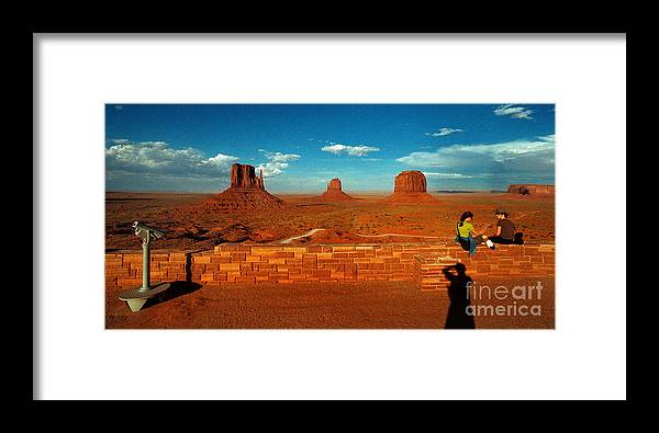 Landscape National Park People Blue Sky Red Rock Cloud Framed Print featuring the photograph Relax At Mounment Park by Ty Lee