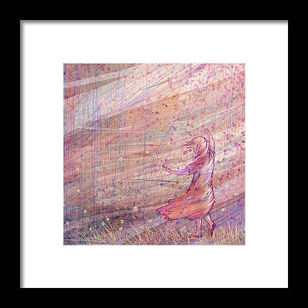 Abstract Framed Print featuring the digital art Releasing The Daisies by William Russell Nowicki