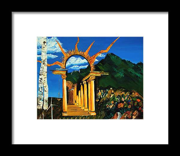 Climategate Framed Print featuring the painting Religion And Nature by Gregory Allen Page