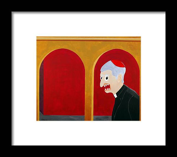 Funism Framed Print featuring the painting Religion by Sal Marino