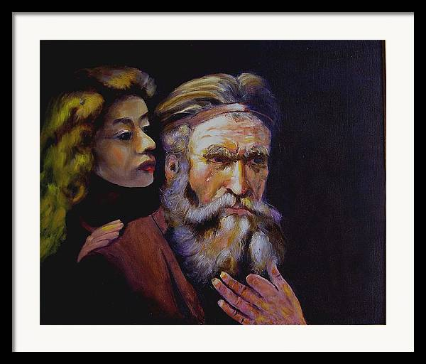 Portrait Of Matthew And Angel Framed Print featuring the painting Rembrandt - Study by George Markiewicz