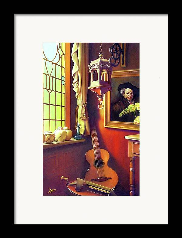 Rembrandt Framed Print featuring the painting Rembrandt's Hurdy-gurdy by Patrick Anthony Pierson