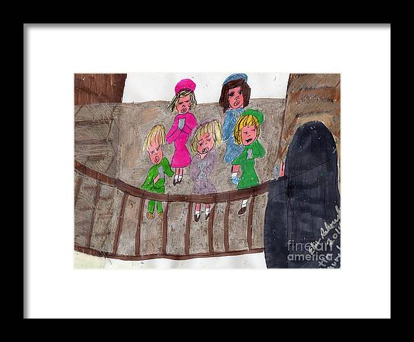 Children In A Choir Nun Teaching Them How To Sing Roman Latin Framed Print featuring the mixed media Remember When We Learned Roman Latin From Singing In The Choir by Elinor Helen Rakowski