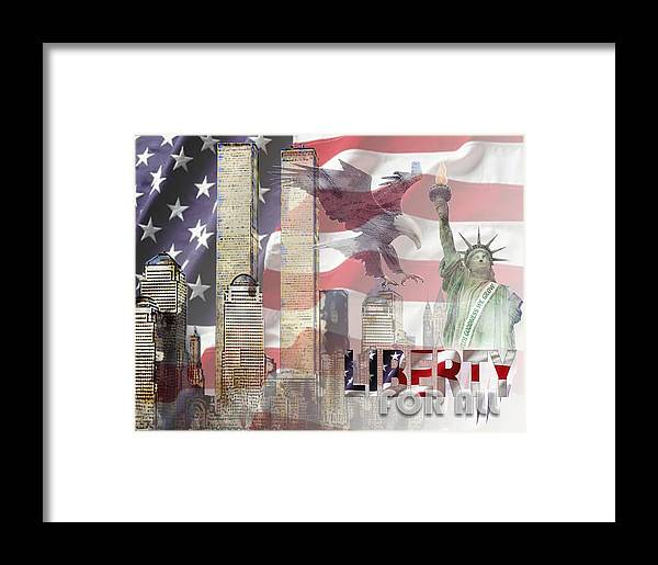 9/11 Framed Print featuring the digital art Remembering 9-ll by Arline Wagner