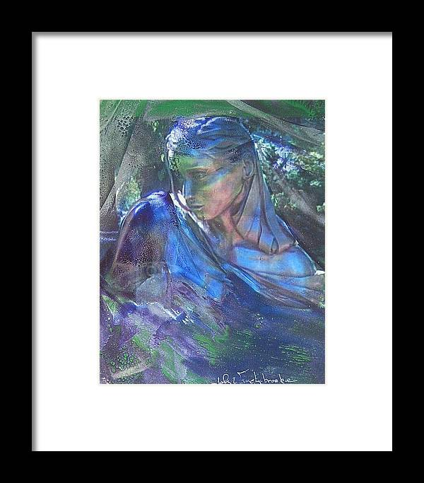 Womans Face Framed Print featuring the mixed media Remembering by John Vandebrooke