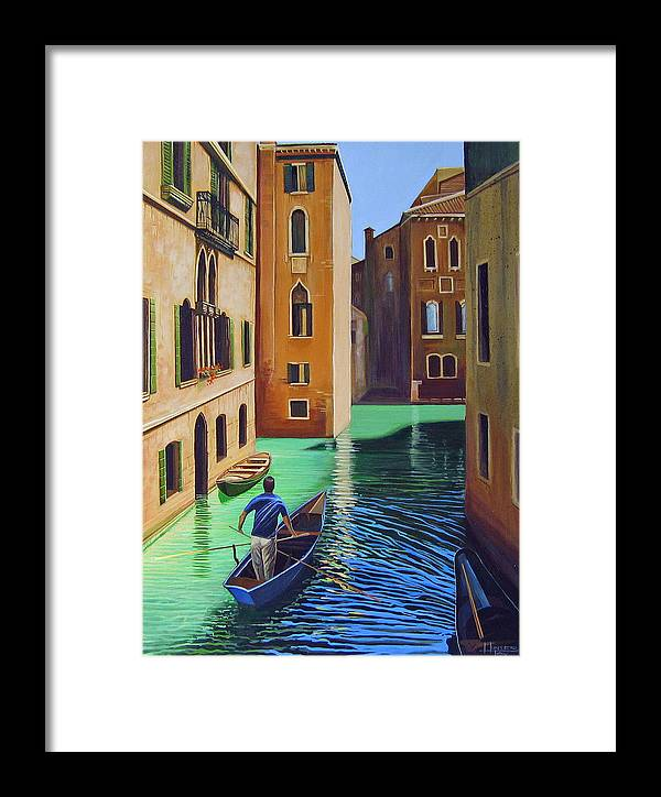 Canal In Venice Framed Print featuring the painting Remembering Venice by Hunter Jay