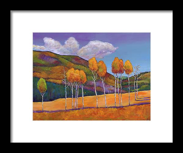Autumn Aspen Framed Print featuring the painting Reminiscing by Johnathan Harris