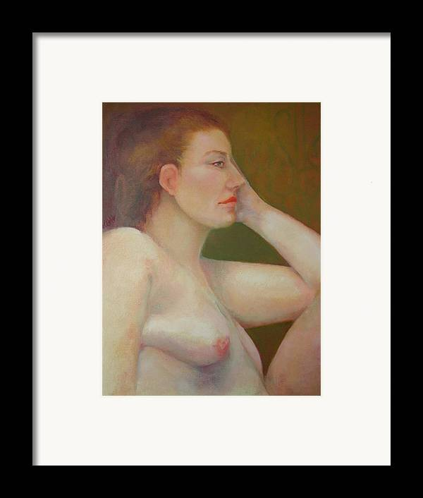 Portrait Framed Print featuring the painting Renaissance Nude Copyrighted by Kathleen Hoekstra