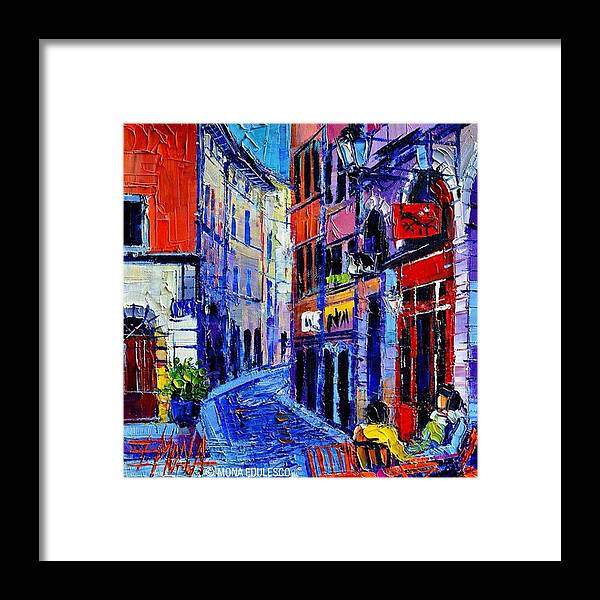Buildings Framed Print featuring the photograph rendez-vous In Vieux Lyon 25x25 Cm by Mona Edulesco