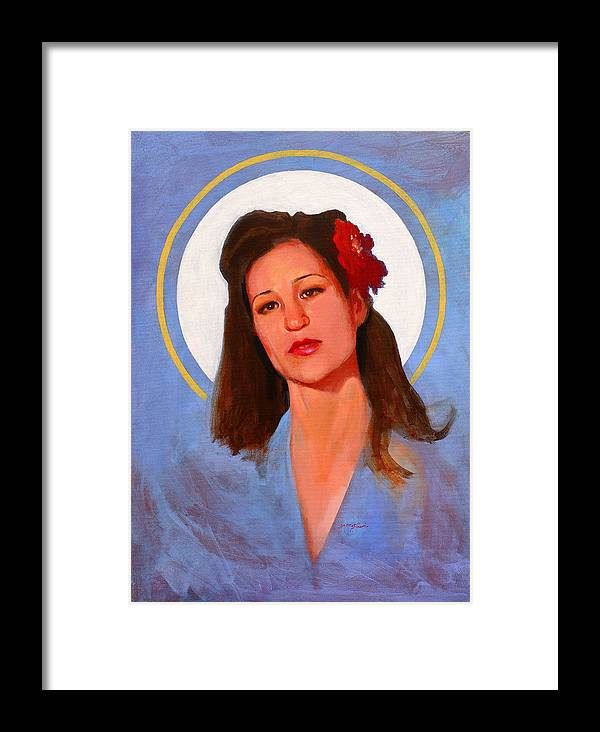 Portrait Framed Print featuring the painting Renee 1940 by John Tartaglione