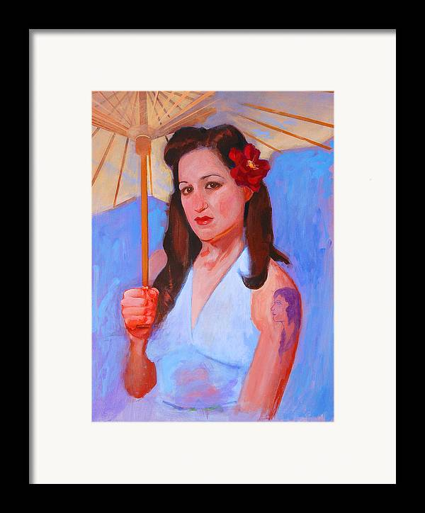 Umbrella Framed Print featuring the painting Renee by John Tartaglione