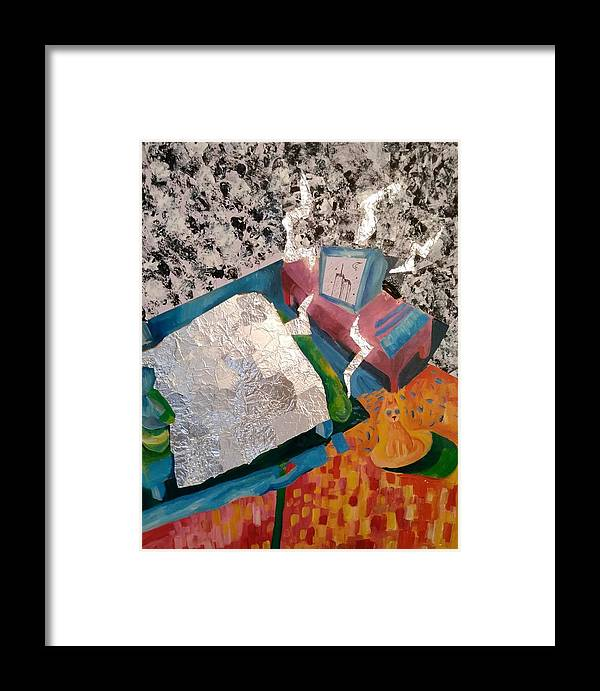 Mixed Media Colorful Static Bed Tv Paint Framed Print featuring the painting Repent by Gabriela Magras