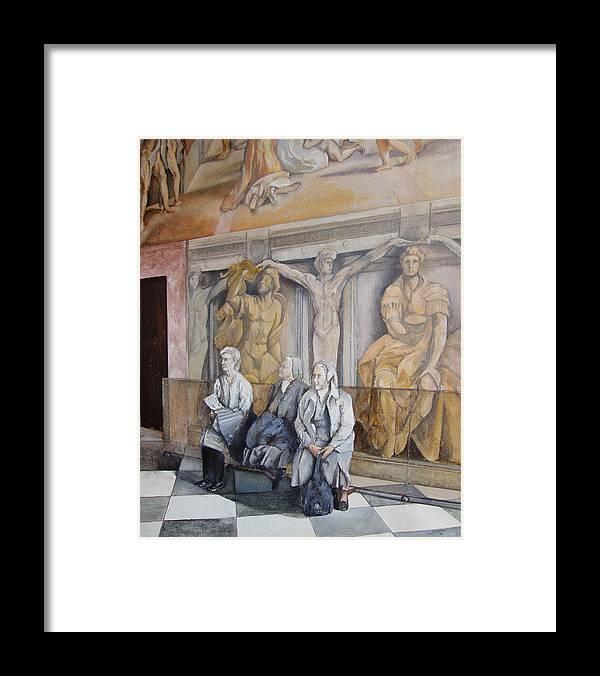 Vaticano Framed Print featuring the painting Reposo En El Vaticano by Tomas Castano
