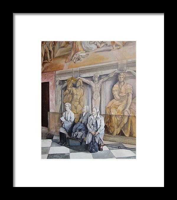 Vaticano Framed Print featuring the painting Reposo En El Vaticano by Tomas Castano