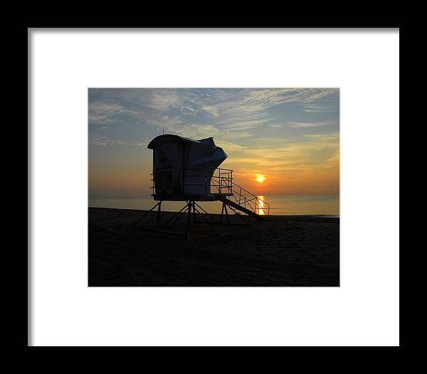 Beach Framed Print featuring the photograph Rescue Tower Sunrise by Zachary Liaros