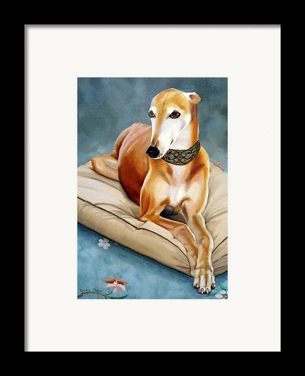 Greyhound Framed Print featuring the painting Rescued Greyhound by Sandra Chase