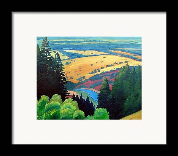 Rerservoir Framed Print featuring the painting Reservoir Below by Gary Coleman