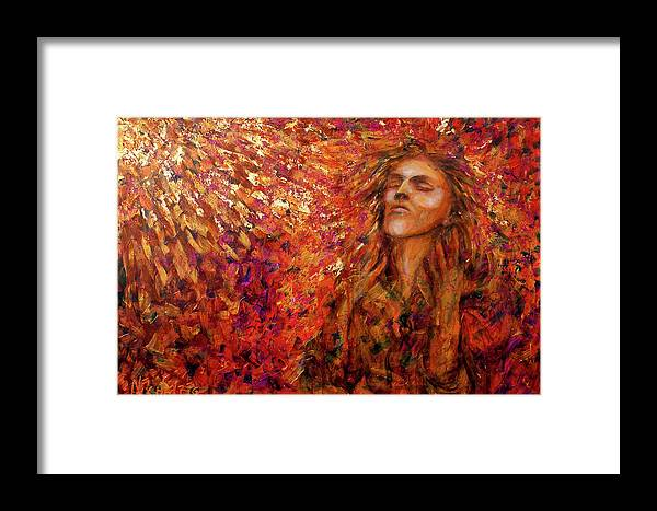 Sun Framed Print featuring the painting Resonance by Nik Helbig