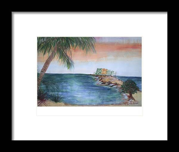 Seascape Of A Sunrise Framed Print featuring the painting Resort The Keys by Hal Newhouser