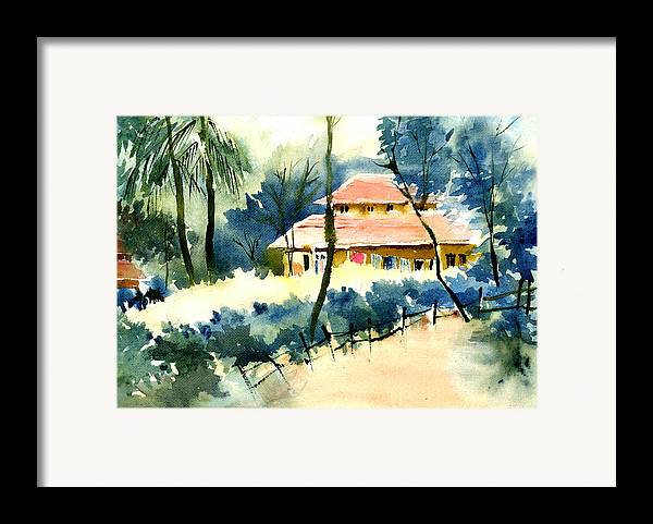 Landscape Framed Print featuring the painting Rest House by Anil Nene