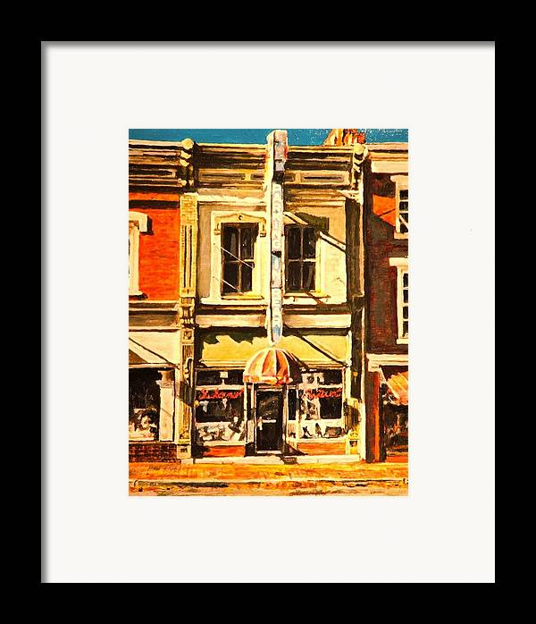 City Scene Framed Print featuring the painting Restaurant II by Thomas Akers