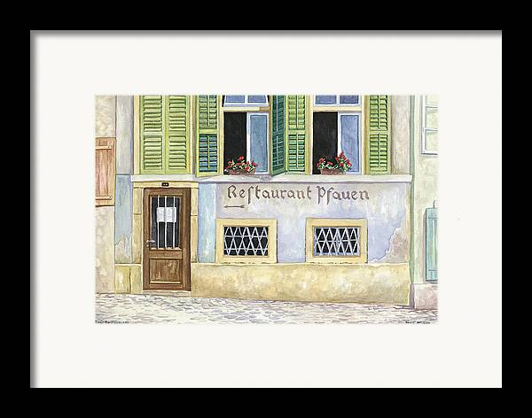 Restaurant Framed Print featuring the painting Restaurant Pfauen by Scott Nelson