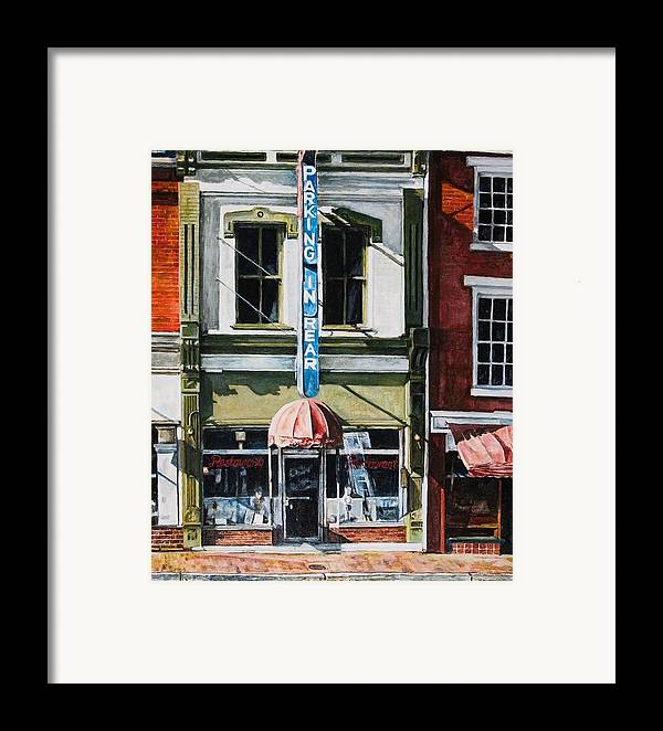 Street Scene Framed Print featuring the painting Restaurant by Thomas Akers