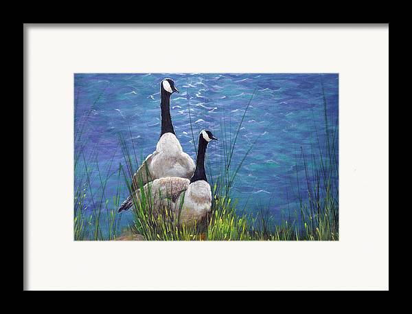 Landscape Framed Print featuring the painting Resting Geese by SueEllen Cowan