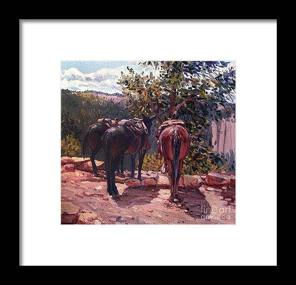 Mules Framed Print featuring the painting Resting on the Kaibab Trail by Donald Maier
