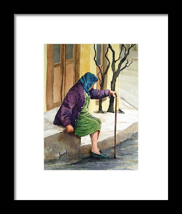 Old Lady Framed Print featuring the painting Resting by Sam Sidders